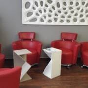 furniture adhesive in red waiting room chairs