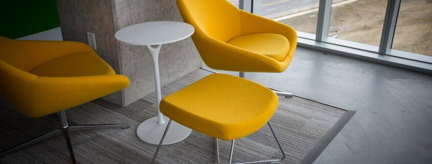 furniture adhesive in yellow chairs