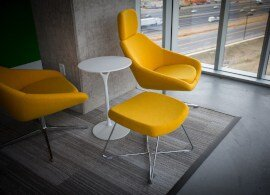 yellow chairs with furniture adhesive