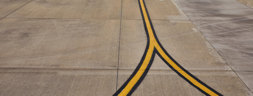 airport with sealant on runway