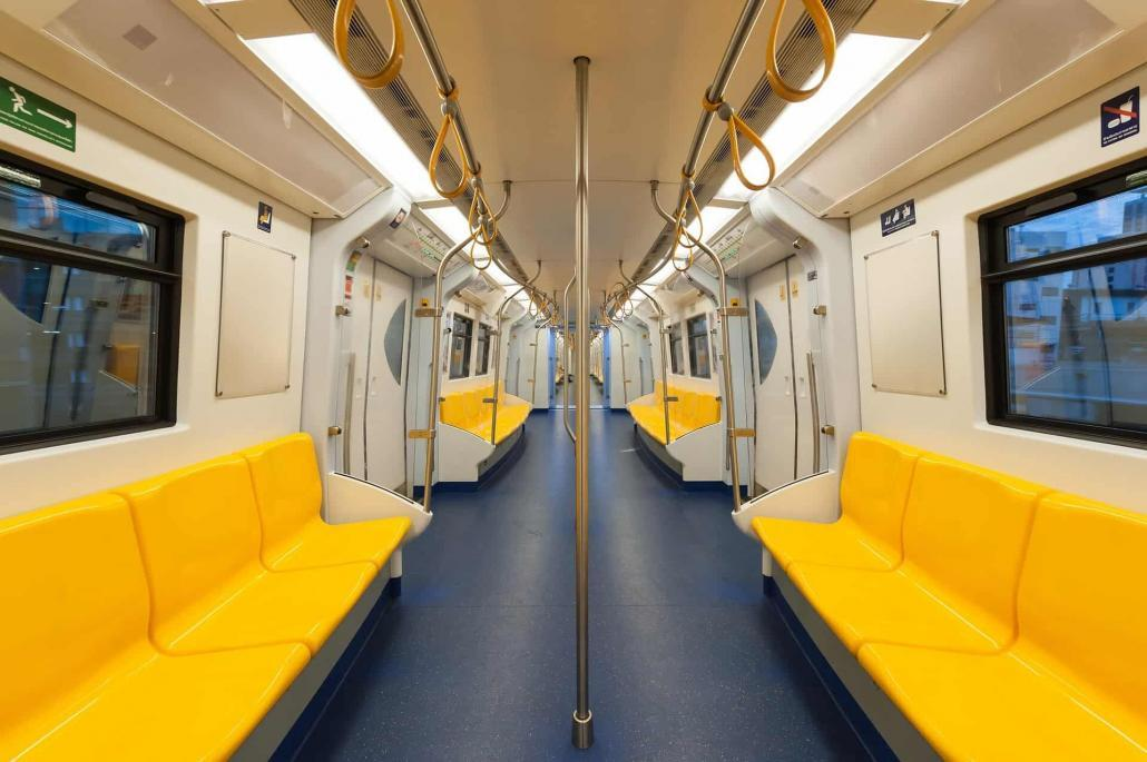 train interior with sealants for rail transport