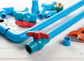 blue pvc pipes with adhesive
