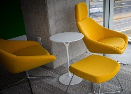yellow chairs and table with furniture adhesive