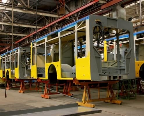 adhesives and sealants for buses beeing applied during assembly