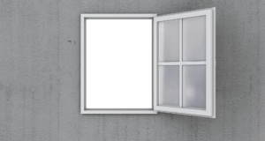 an open window with low carbon adhesives for construction