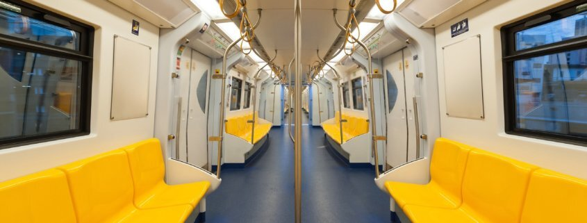 public transport rail vehicle interior with mma adhesive solutions in panels and seating