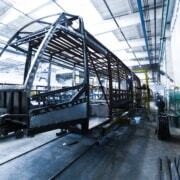 tram frame in assembly line with mas polymer adhesives and sealants