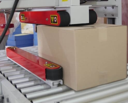 packaging line with low temperature hot melt adhesive aka cool melt