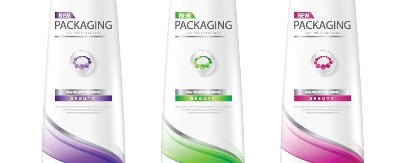 three shampoo bottles with wash-off labeling adhesive