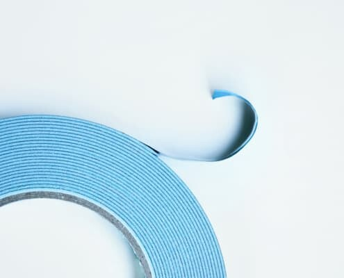 blue medical tape with wash soluble adhesive