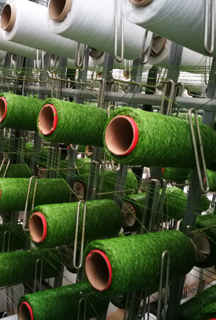 Production plant for artificial grass from 100% compostable materials